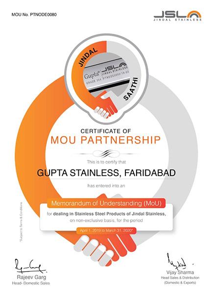 Certificate - Gupta Stianless Steel